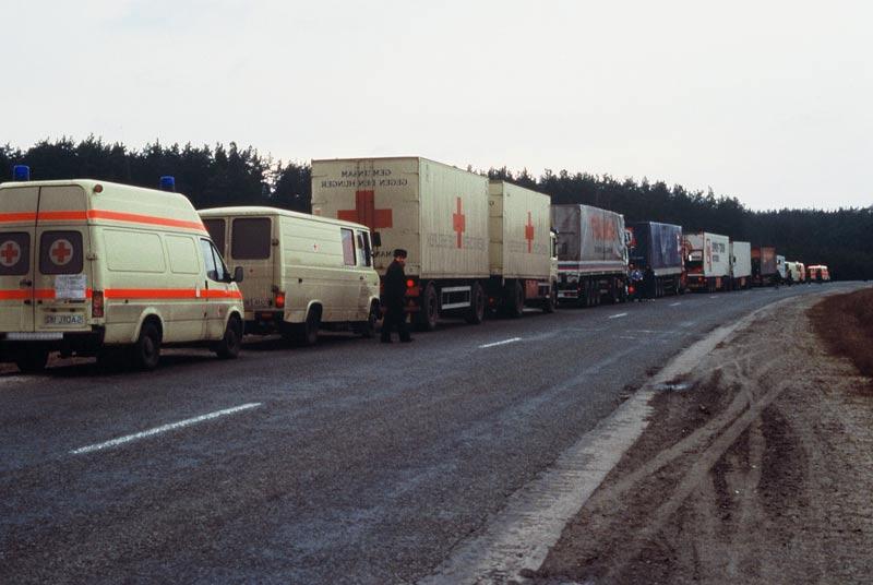 Hilfskonvoi auf dem Weg in die Ukraine